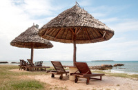 Palapas by Seaside in Dar es Salaam, Tanzania, Africa