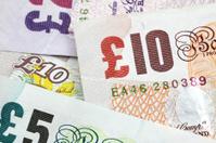five, ten, twenty pounds sterling - british money