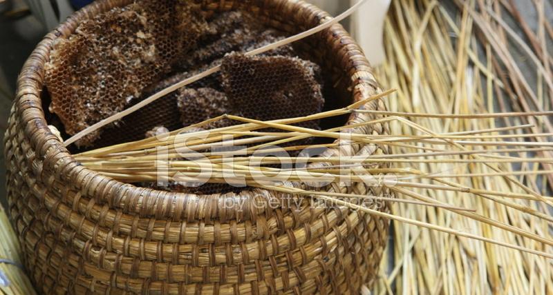 Wicker beehive making stock photos - Wicker beehive basket ...