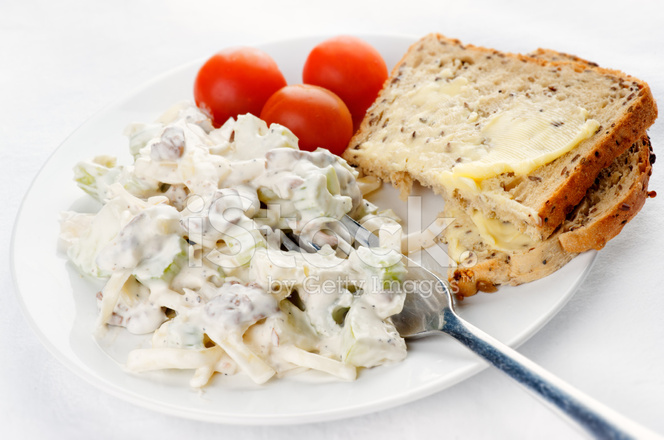 Waldorf Salatası Ekmek Ve Domates Stok Fotoğrafları Freeimagescom