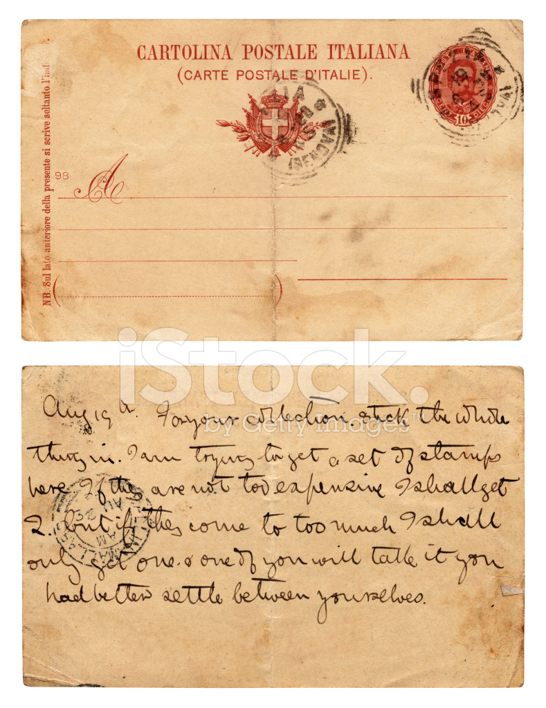 italian postcard back and front from 1896 stock photos freeimages com