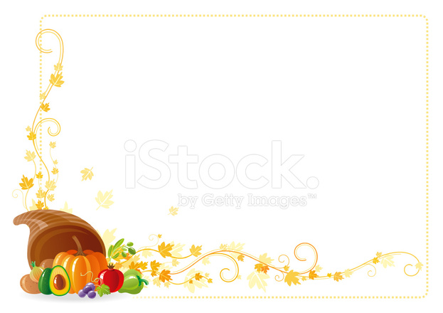 Autumn Thanksgiving Frame With Vine and Horn of Plenty Stock Vector ...
