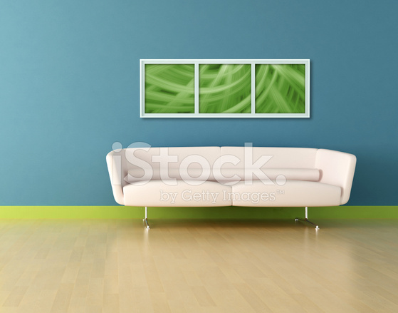 Strange White Leather Sofa In A Blue Room Stock Photos Freeimages Com Machost Co Dining Chair Design Ideas Machostcouk
