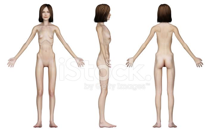 Menschlichen Körper Einer Abgemagerten Frau, Studie Stockfotos ...