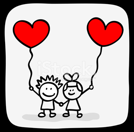 Valentine S Day Kids Lovers Holding Hands Cartoon Stock Vector