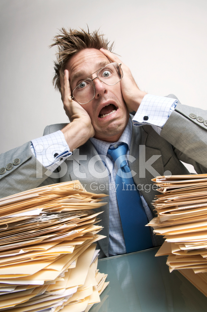 Businessman Office Worker Stress Out From Paperwork