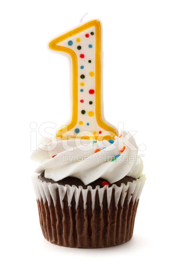 One Birthday Cupcake With Number 1 Candle Stock Photos Freeimages