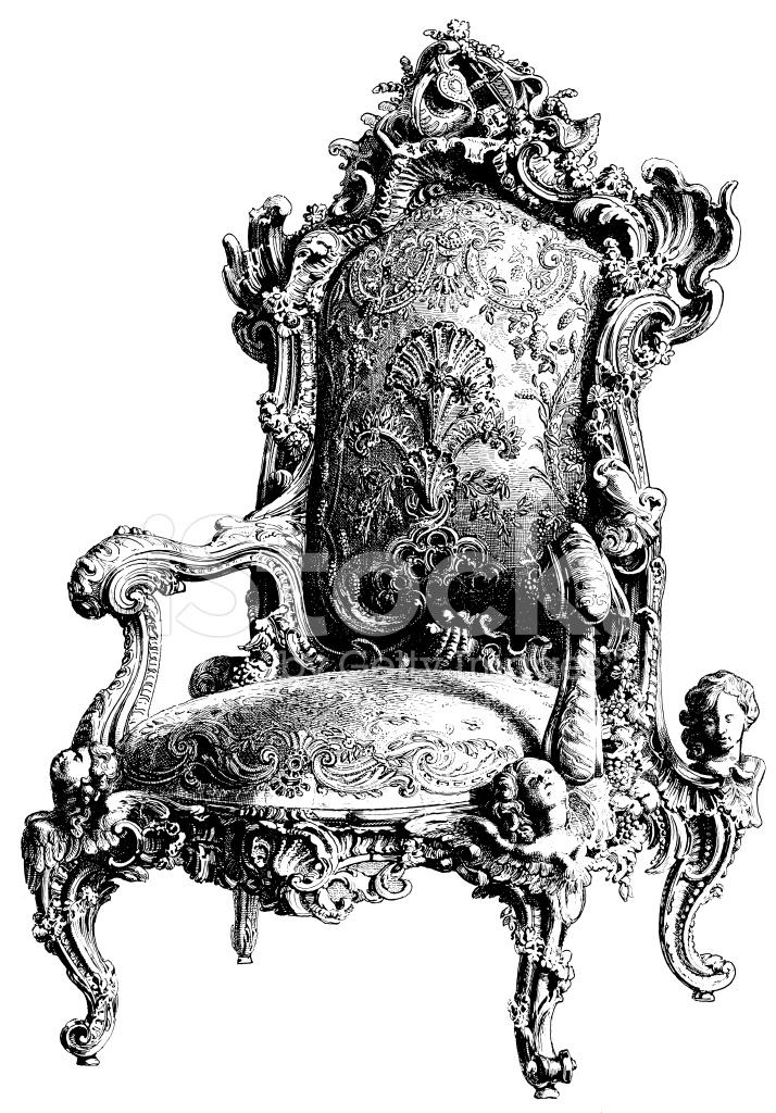 Armchair Antique Design Illustrations Stock Vector