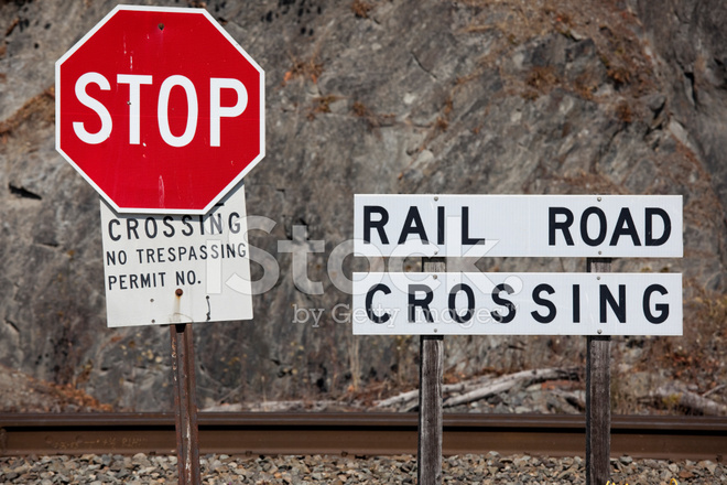 Rail Road Track Stop Sign And Railroad Crossing Stock
