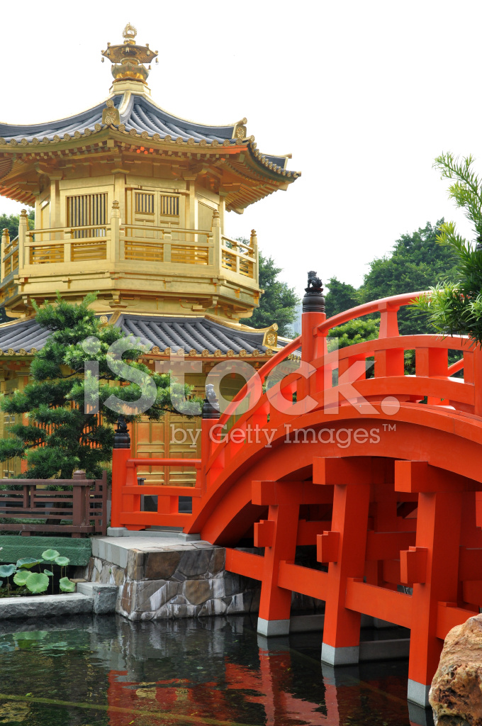 Red bridge to gold tower chinese or japanese style stock for Japanese style bridge