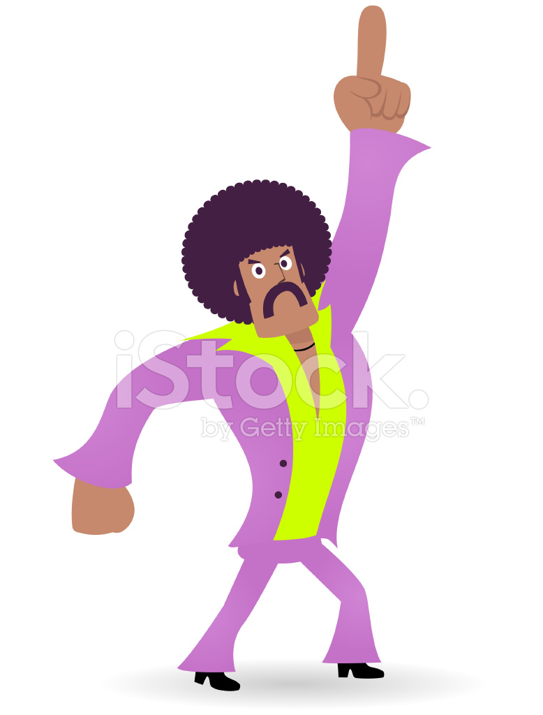 King Of Disco Dancing Man 1970s Styled Dude Points Upward