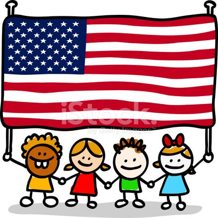 Imagen De Dibujos Animados De Niños Americanos Patrióticos Felices