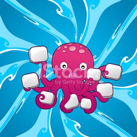 Cartoon Octopus Holding Signs Stock Photos FreeImagescom