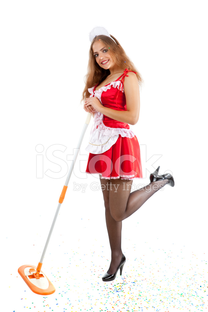 Beautiful Woman In Costume Of Sexy Maid Cleaning Stock