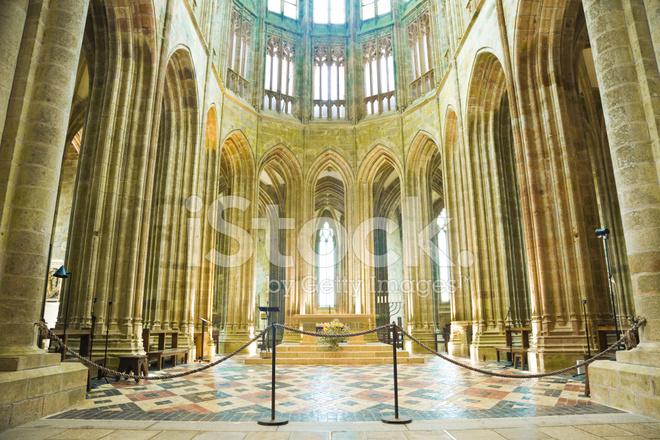 Innerhalb Der Abtei Von Mont Michel Frankreich Stockfotos