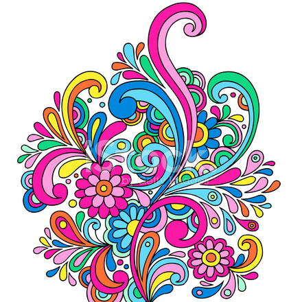 Groovy Psychedelic Abstract Paisley Doodle 337015 on Black Swirl Design Border