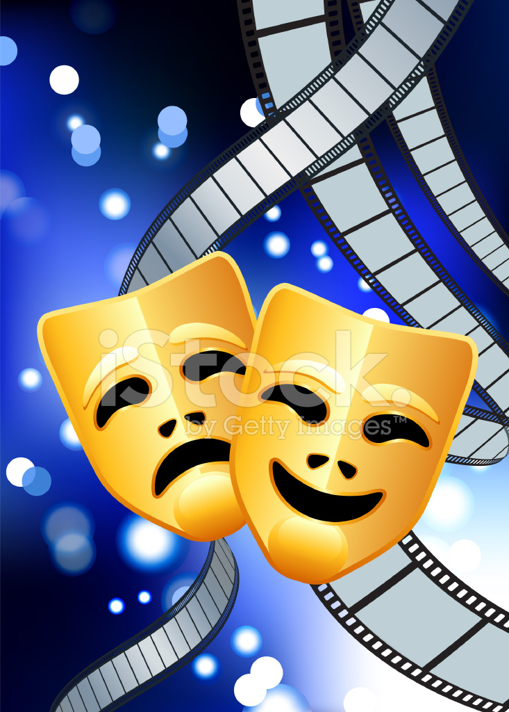 Comedy and Tragedy Masks With Film Reel Blue Internet ...