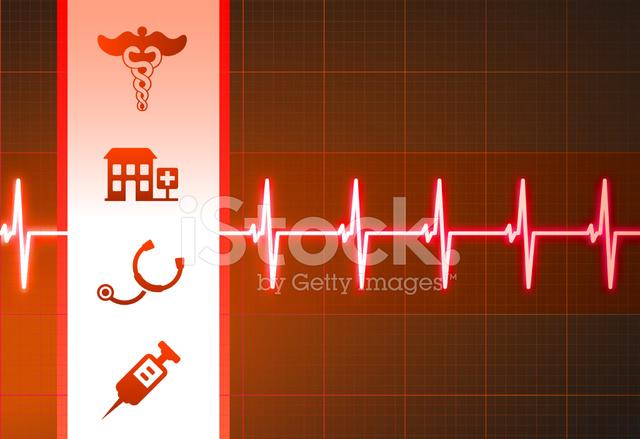 Sfondo Medico Semplice Cardiogramma Rosso Con Icone Stock Vector