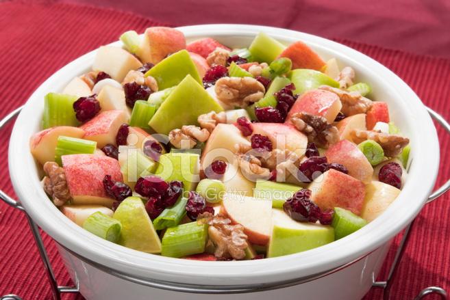 Sağlıklı Waldorf Salatası Iki Elma çeşitleri Ile Yapılan Stok