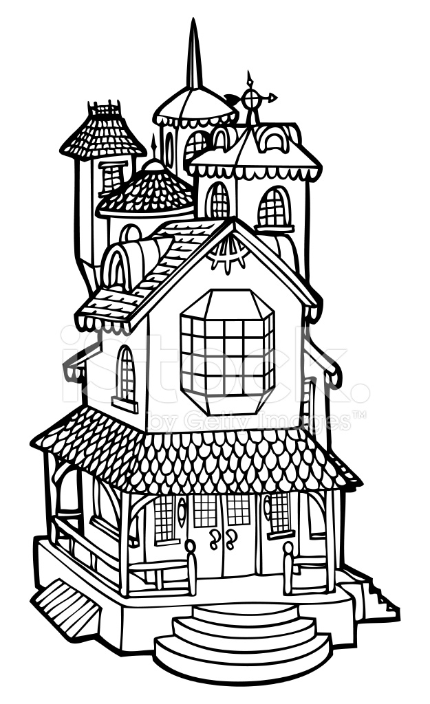 Line Art Of House : Doll house mansion line art stock vector freeimages