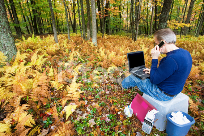 Portable Office In The Woods Stock Photos
