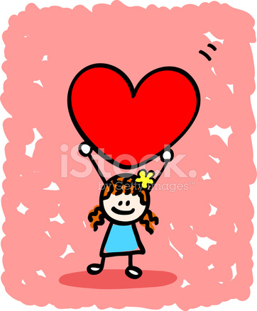 premium stock photo of happy lover girl with heart cartoon illustration at valentines