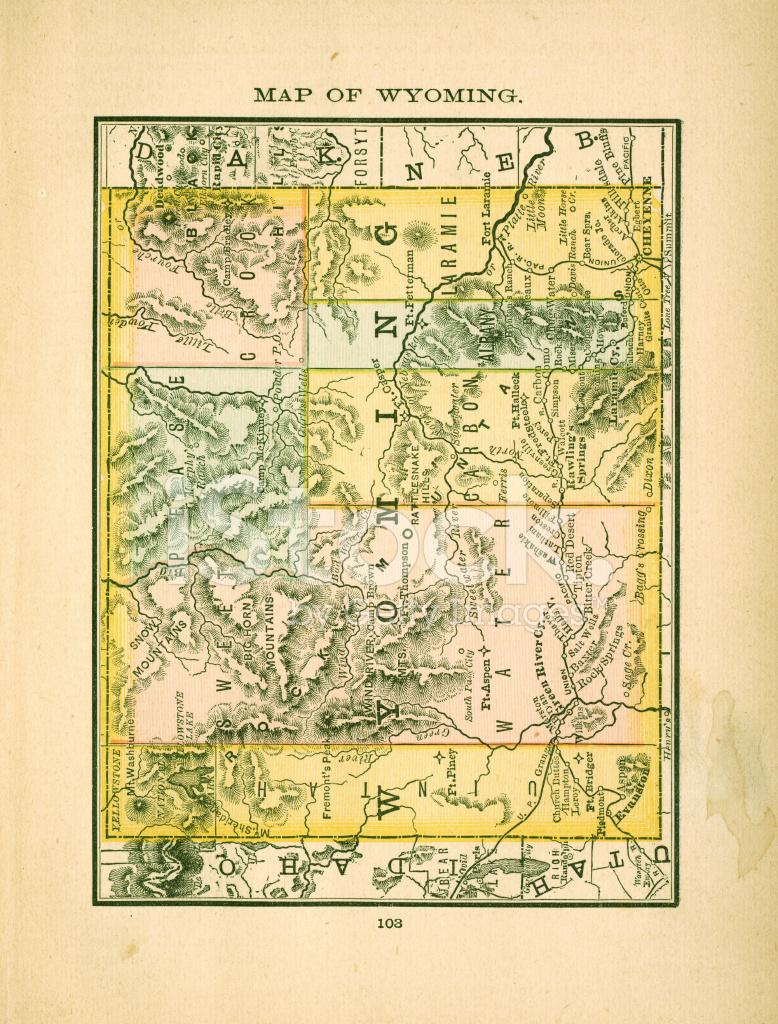 Wyoming   USA Antike Landkarten IN Hoher Auflösung Stock ...