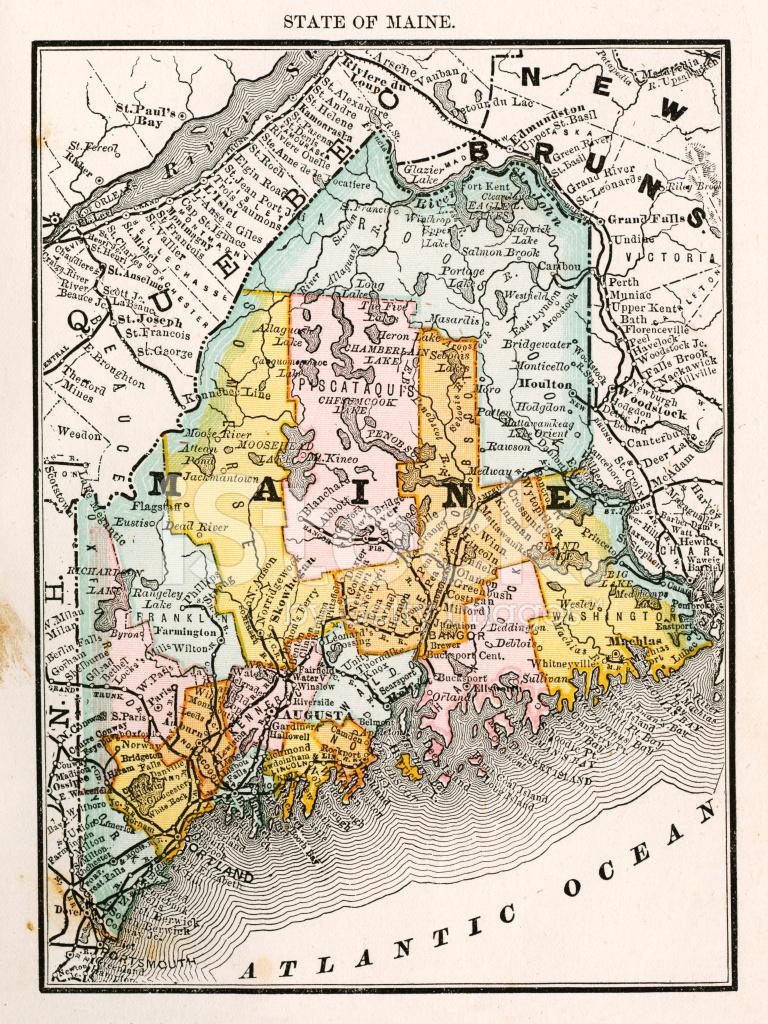 Maine USA Antique Maps High Resolution Stock Vector FreeImagescom