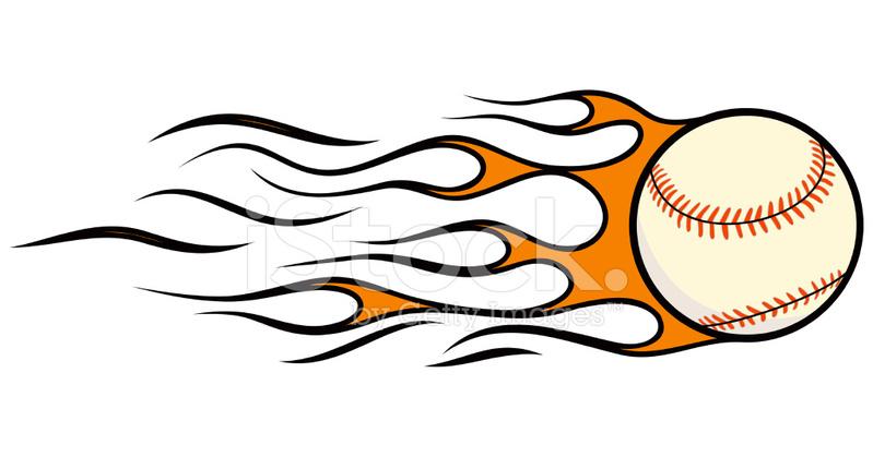 Flying Baseball In Flames Vector Stock Vector