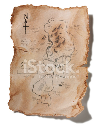 Old Handmade Treasure Map Isolated On White
