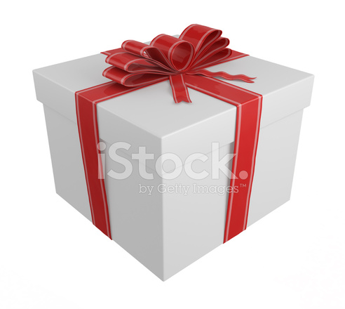White Gift Box Wrapped With Red Ribbon And Bow Stock