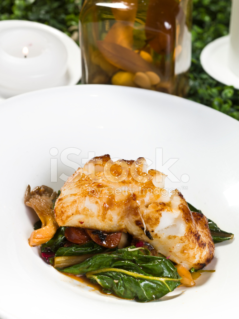 Fillet of sea bass in miso sauce stock photos for Miso sauce for fish