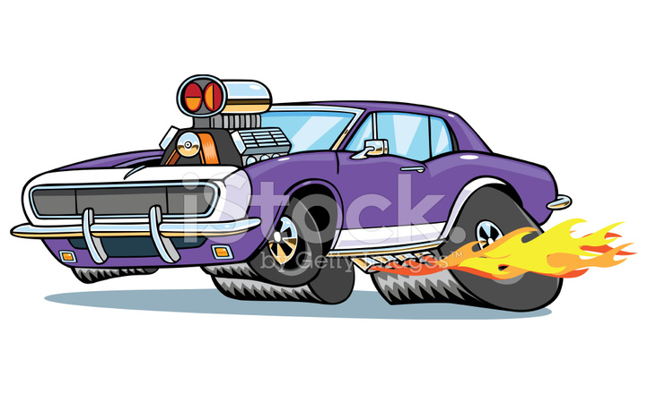 Camaro Muscle Car Pulling Wheelie With Flames Stock Vector