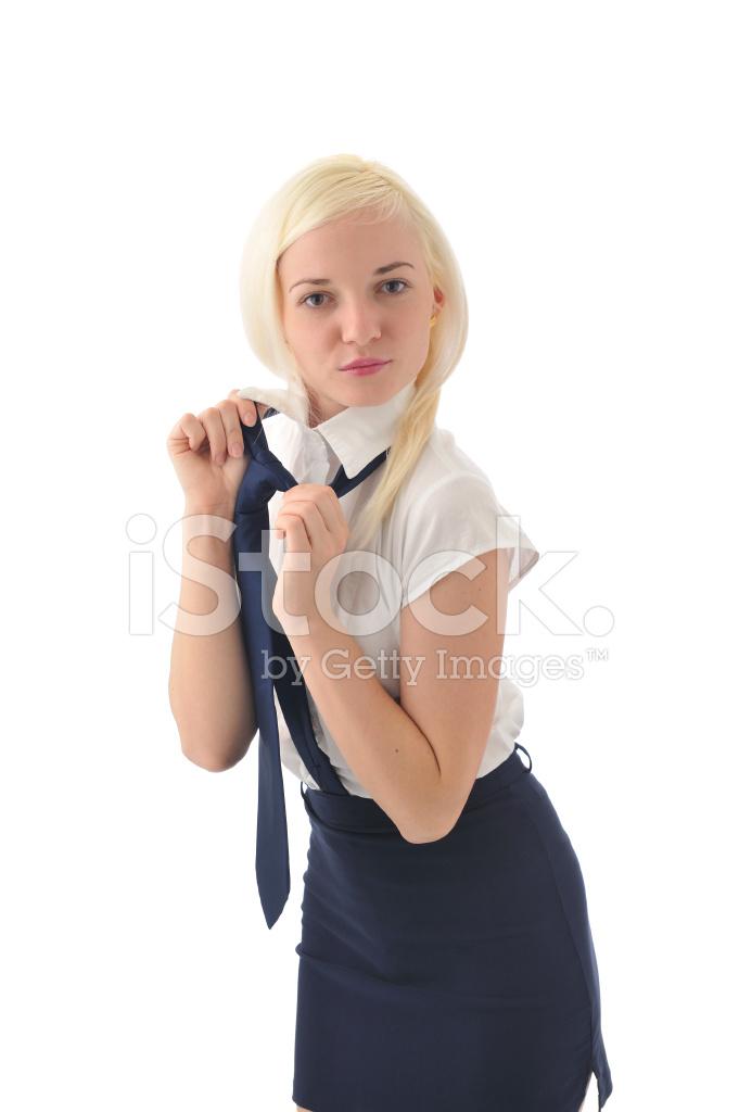 Junge Blonde Frau MIT Minirock, Weißem Hemd UND Krawatte Stockfotos ... 05f8f6a927