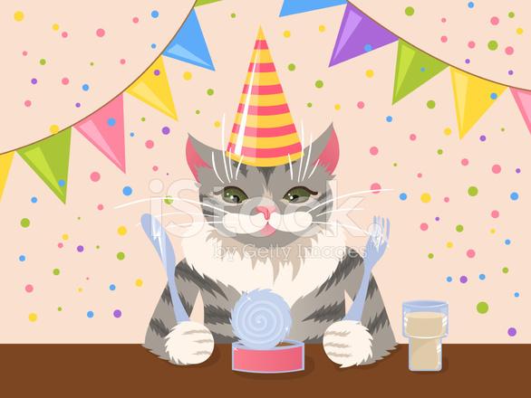 Geburtstag Katze Stock Vector Freeimages Com