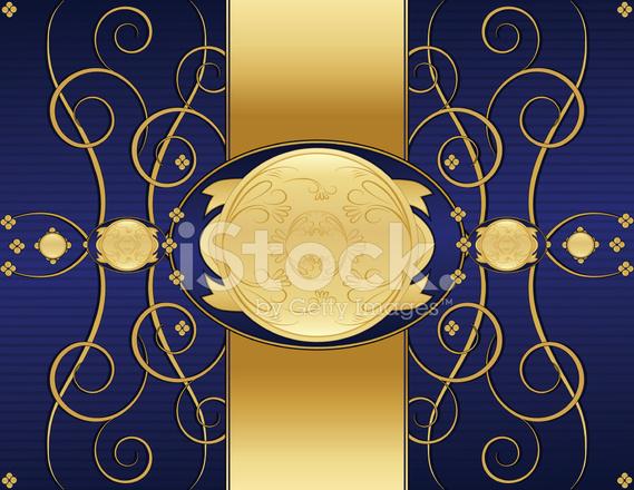 Ricciolo Floreale Sfondo Design Rich Blu E Oro Lucido Stock Vector