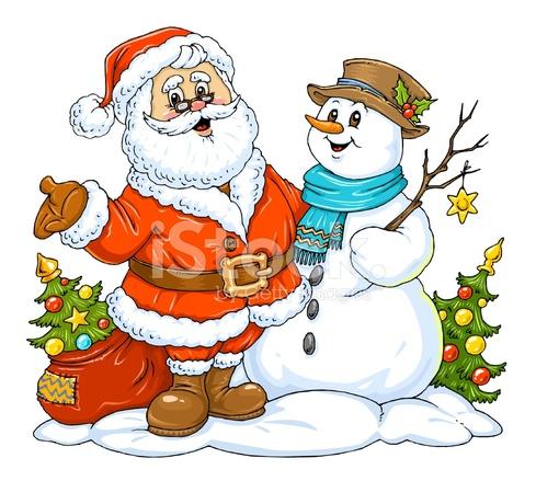 santa claus and snowman - Santa And Snowman