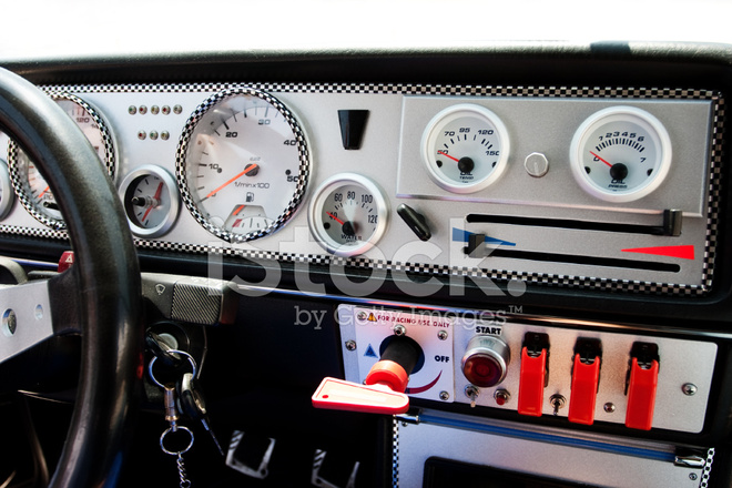 main switch panel of race car stock photos. Black Bedroom Furniture Sets. Home Design Ideas