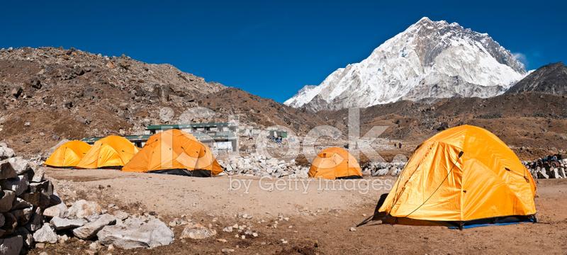 Base Camp Tents Himalaya Peaks Nuptse Gorak Shep Nepal ...