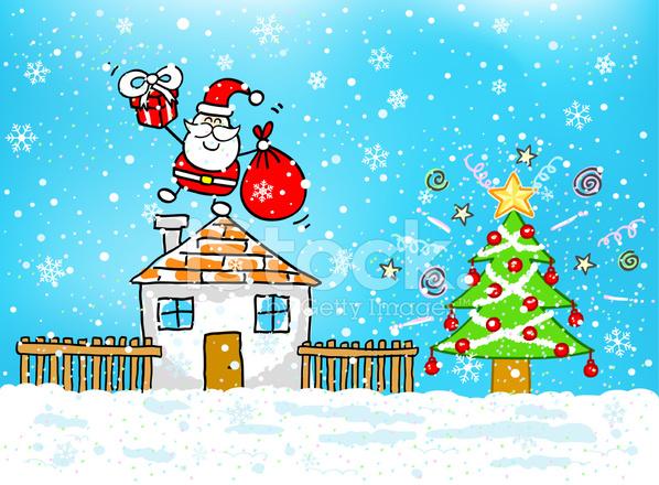 Christmas Tree and Santa Cartoon stock photos - FreeImages.com