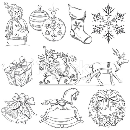 Christmas Design Elements Drawings Stock Vector