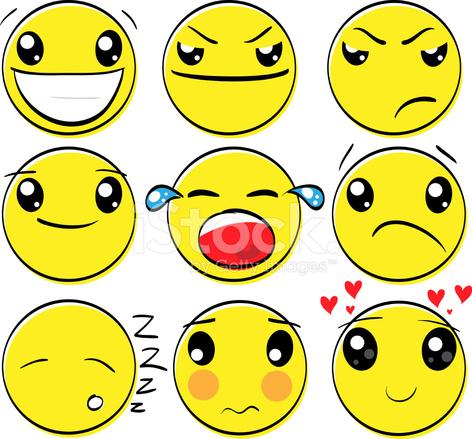 Conjunto De Dibujos Animados Original Emoción Caras Stock Vector