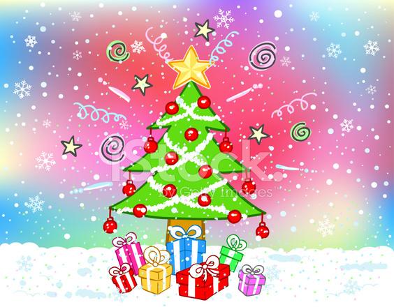 Imagenes Animadas Arboles Navidad.Dibujos Animados De Caja De Arbol De Navidad Y Regalo Stock