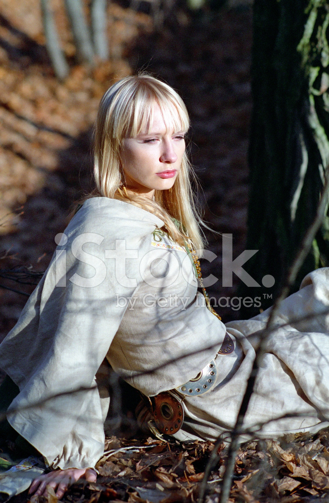 Beautiful Medieval Woman Sitting In Forest Stock Photos Freeimages Com