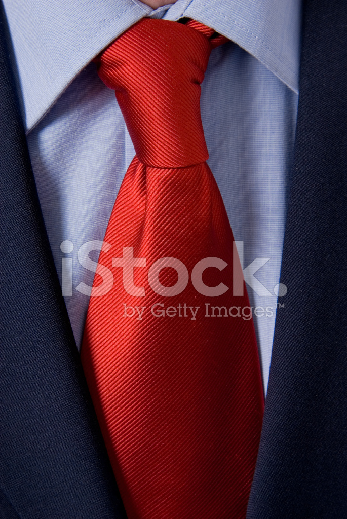 bright red tie  white shirt  black suit stock