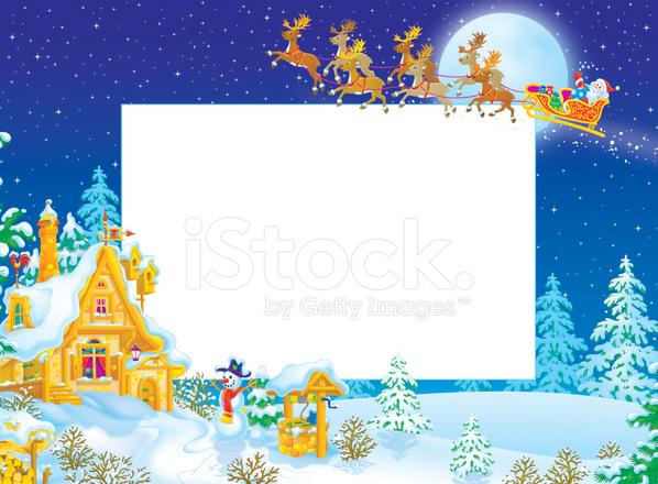 Christmas Frame / Border With Santa Claus Stock Vector - FreeImages.com
