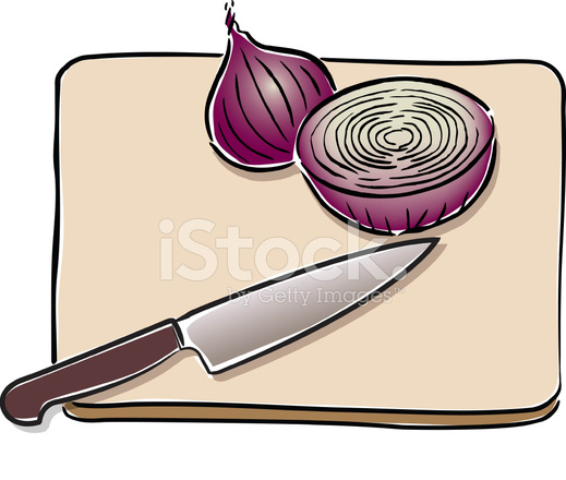Onion And Knife On Cutting Board Stock Vector Freeimages Com