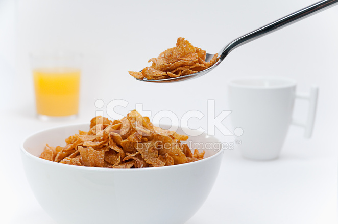 Breakfast Cereal IN A White Bowl High Key Stock Photos ...
