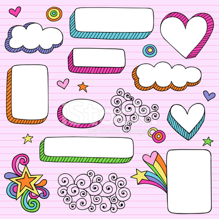 Groovy Psychedelic Notebook Doodle Frame Shapes Stock Vector ...