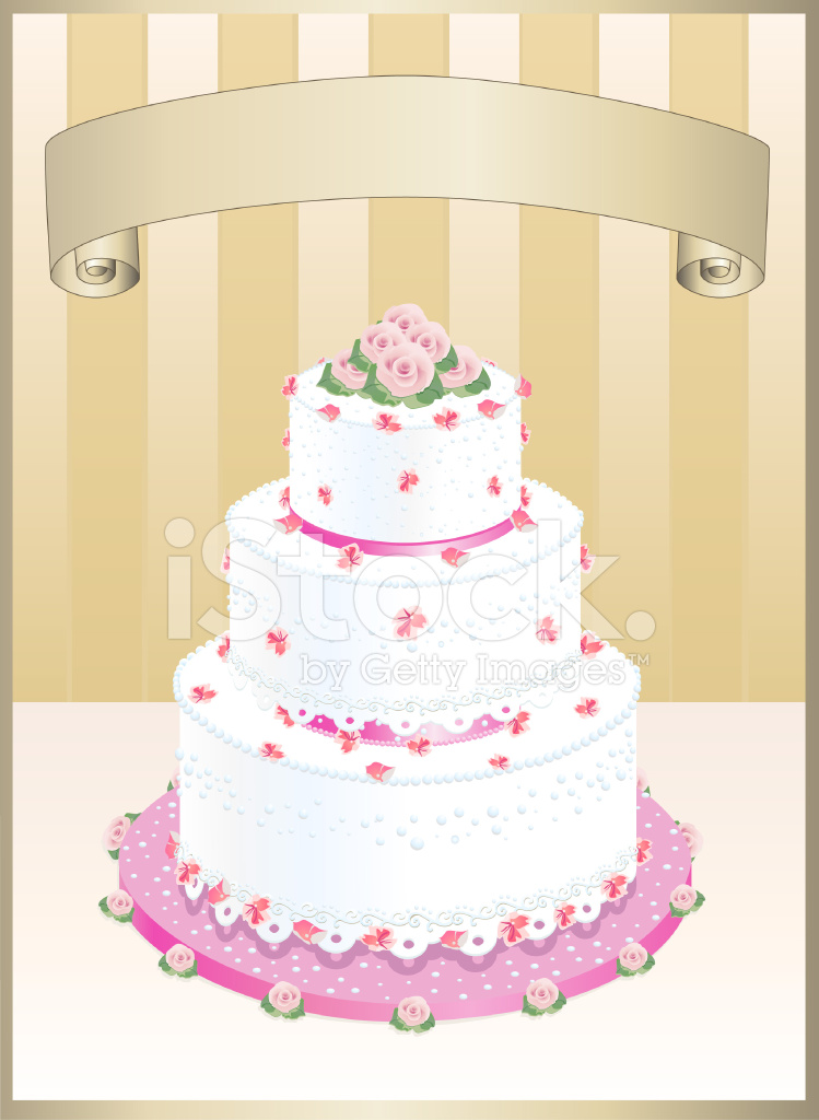 Wedding Cake With Golden Scroll Stock Vector - FreeImages.com